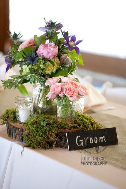 Rustic woodland centerpiece by sachi rose wood slices