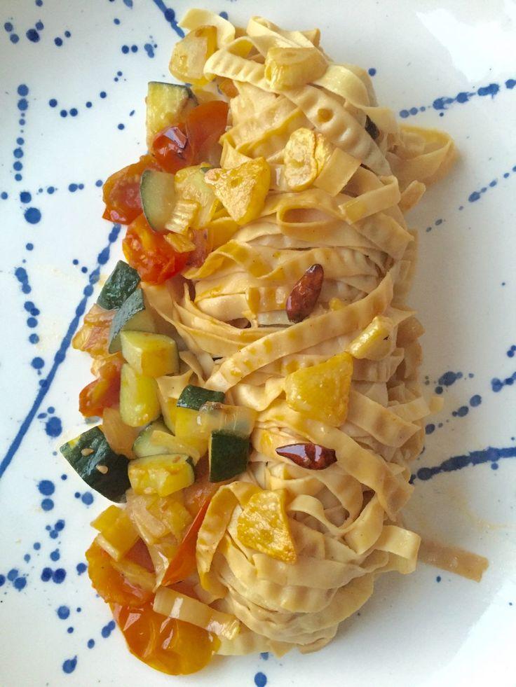 Jeg spiser veldig lite pasta, men av og til savner jeg spaghetti alio e olio e pepporncini ( spaghetti med olivenolje, hvitløk og sterk mini chili): min go-to superrask oppskrift fra studenttidene mine med dårlig økonomi. Så jeg ville finne en sunnere måte å lage dette på, men likevel beholde smaksopplevelsen med masse hvitløk og chili: ekstra jomfru olivenolje 2 store hvitløksfedd, skjært i skiver 2-3 pepperoncino, tørket salt pasta ( jeg brukte 1/3 av denne økologiske…