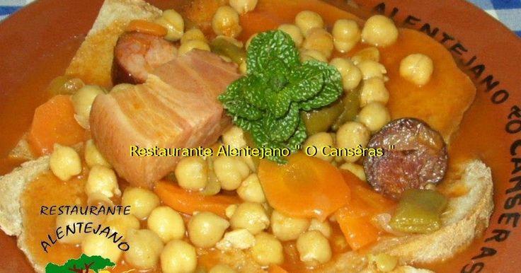 """Restaurante Alentejano """"O Cansêras"""" COZIDO DE GRÃO À ALENTEJANA Ingredientes: 500g de ossos de porco Alentejano da suã 2 rabos de porc..."""