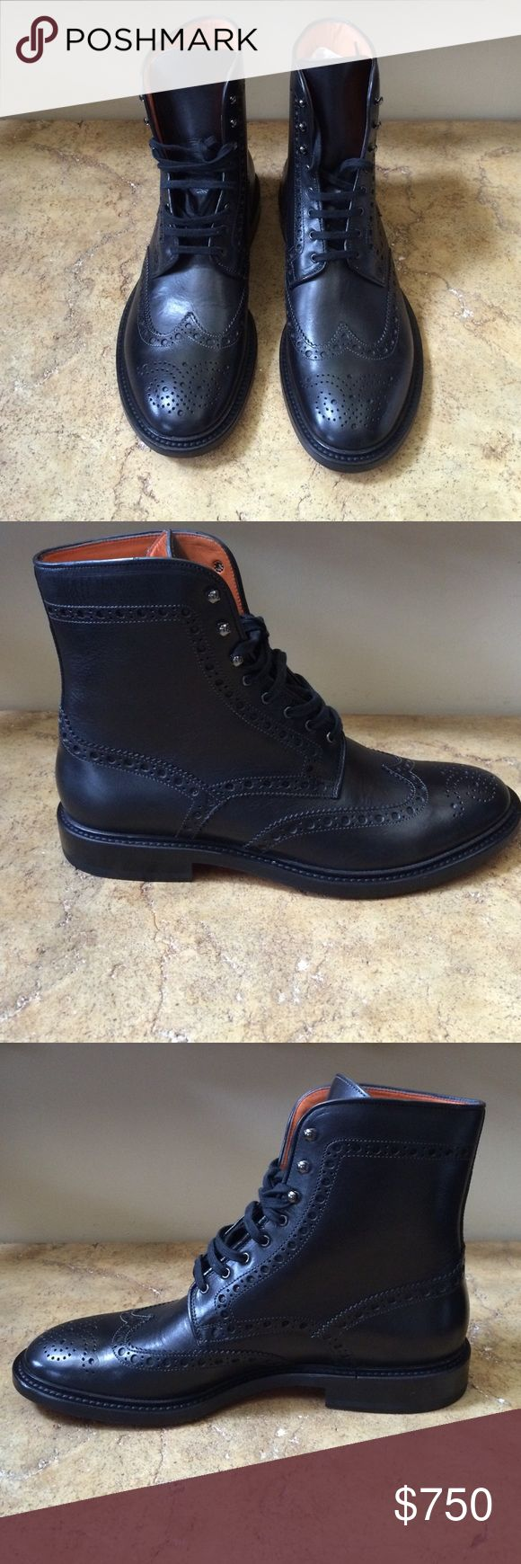Santoni Men's Black Leather Boots Made in Italy Santoni Shoes Boots