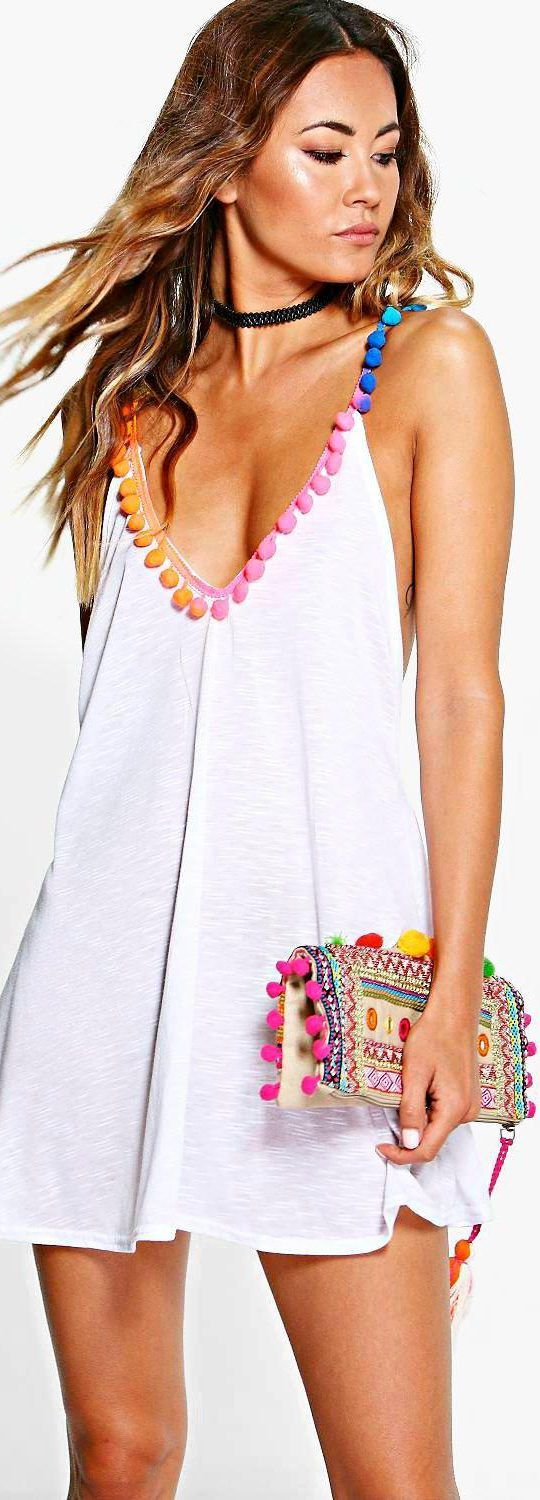 Maisie Multi Coloured Pom Pom Beach Dress - Swimwear  - Street Style, Fashion Looks And Outfit Ideas For Spring And Summer 2017