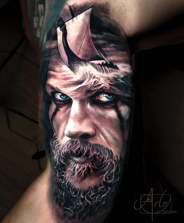 """11.7k Likes, 118 Comments - Arlo DiCristina (@arlotattoos) on Instagram: """"I did a Ragnar piece two years ago so definitely stoked I got to do this floki piece. Especially…"""""""
