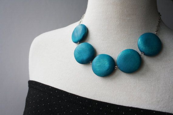 Teal Round Chunky Bead Necklace Big Round Blue