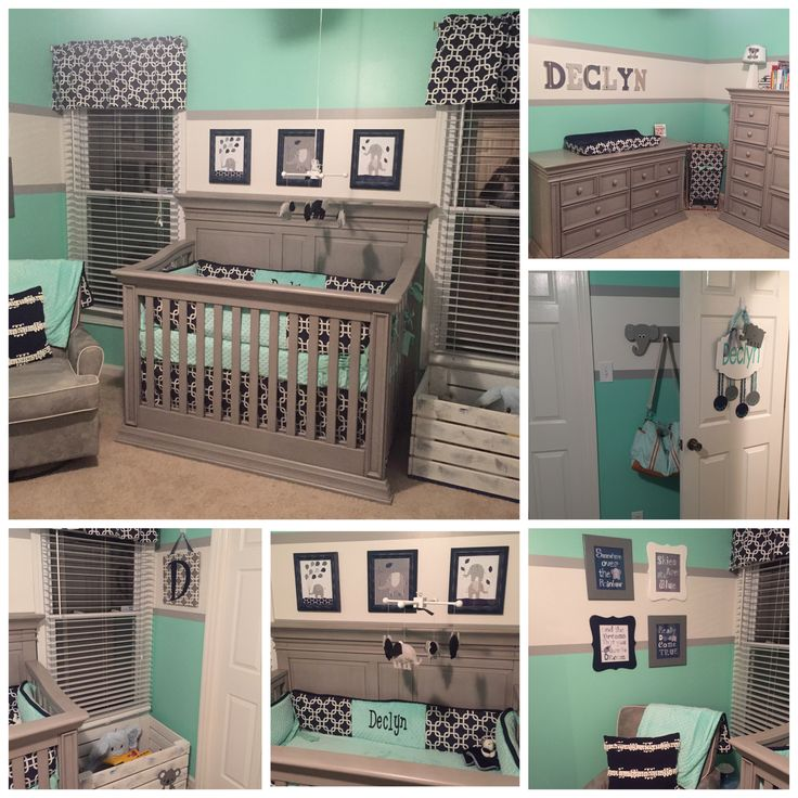 Declyn's Nursery. Baby boy nursery. Grey Mint Green Navy Elephants Koala.