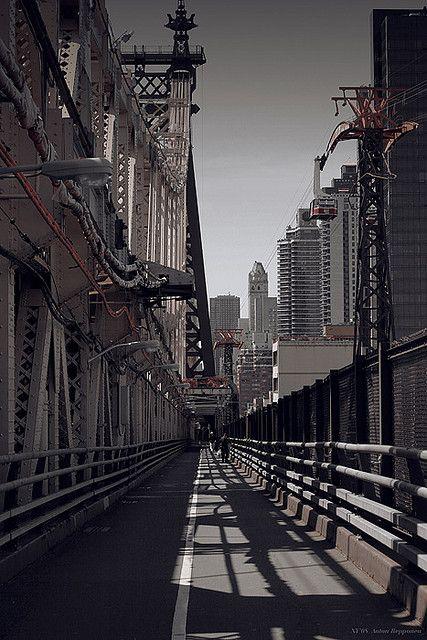 NYC. Walking over Queensboro bridge, looking West