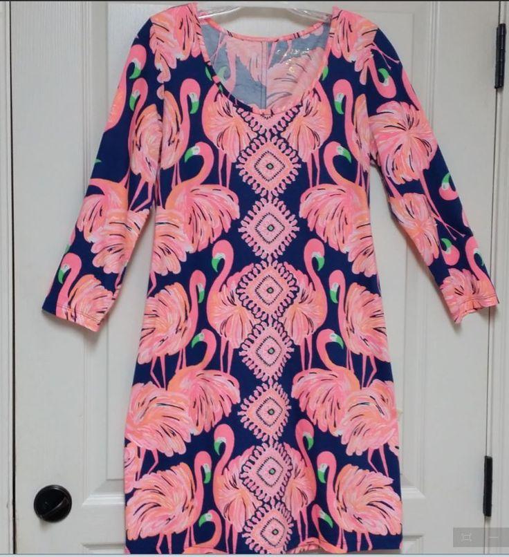 Lilly Pulitzer BEACON Dress GIMME SOME LEG Flamingo Resort Blue Size Medium | eBay
