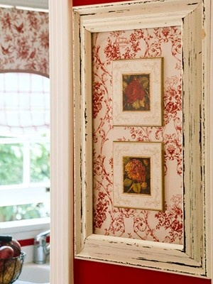 Take an old picture frame, choose a fun fabric for the background, frame a small picture (they used greeting cards in this one), and attach to the fabric.