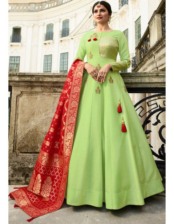 aa741c1c3 Prachi Desai Honeydew Gown with Banarasi Dupatta in 2019