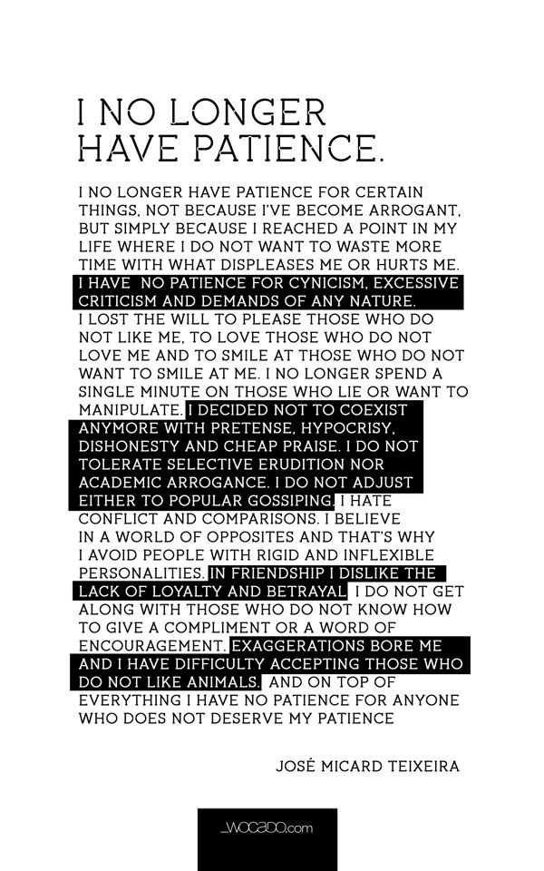 I No Longer Have Patience Quote – Poster by WOCADO
