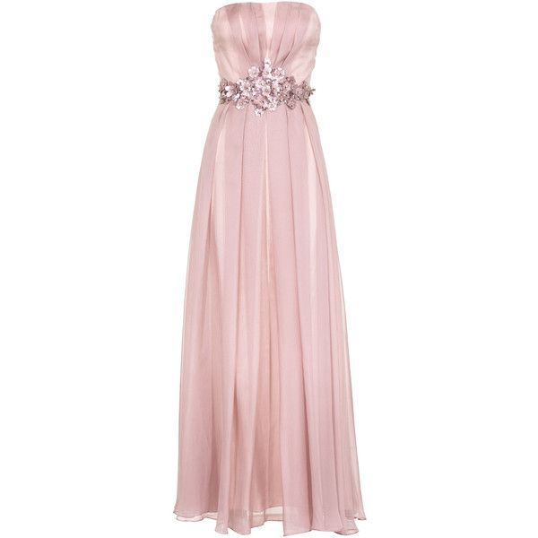 YOUNG COUTURE BY BARBARA SCHWARZER Long Flower Rose Embellished... ($455) ❤ liked on Polyvore featuring dresses, gowns, long dresses, vestidos, beaded evening gowns, long evening gowns, cocktail dresses, long evening dresses and pink evening dress