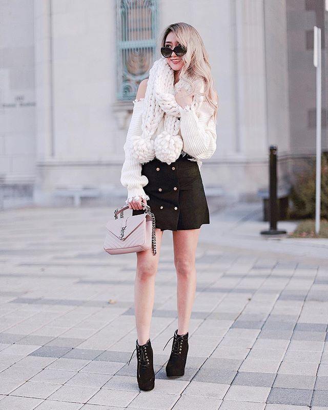 It's skirt weather somewhere right? LOOOVEEE giant pompom ballls hahahaa  counting down to my birthday! wearing @shopmangorabbit Lillian skirt and Verona ripped sweater #kerinaootd