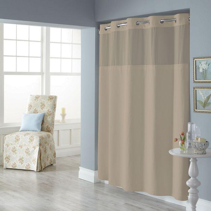 Dobby Pique Mystery Hookless Fabric Shower Curtain, Beig/Green (Beig/Khaki)