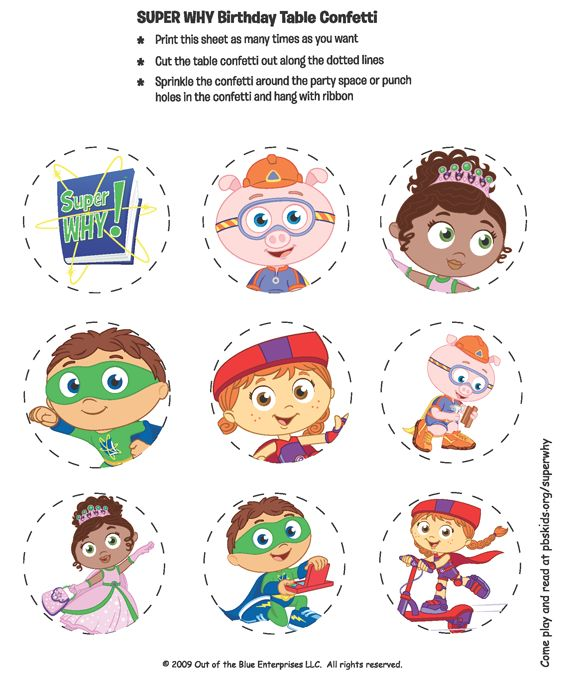 Printable color SUPER WHY! Table Confetti.- print at Office Depot