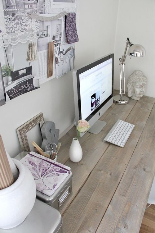 Love the wooden table/desk and the lavender. It looks very farm-like and feminine.