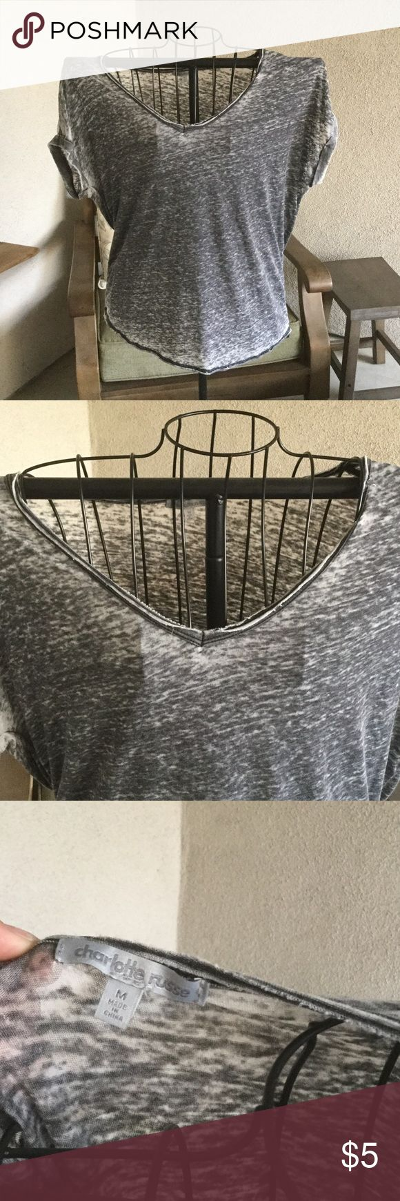 Charlotte rouse vneck staple t Grey acid wash distressed look with slightly cuffed sleeves cute with leggings tied up Charlotte Russe Tops Tees - Short Sleeve