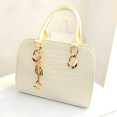 Fanny.C Women's Refinement Metal Bow  Crocodile One Shoulder  Tote(White) – USD $ 18.99