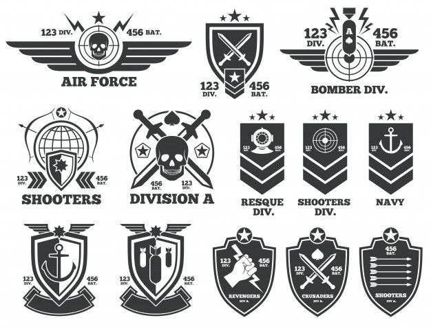 Vintage Military Vector Labels And Patches Emblem And Military Badge Patch Insignia For Army And M Military Logo Vintage Military Military Graphics