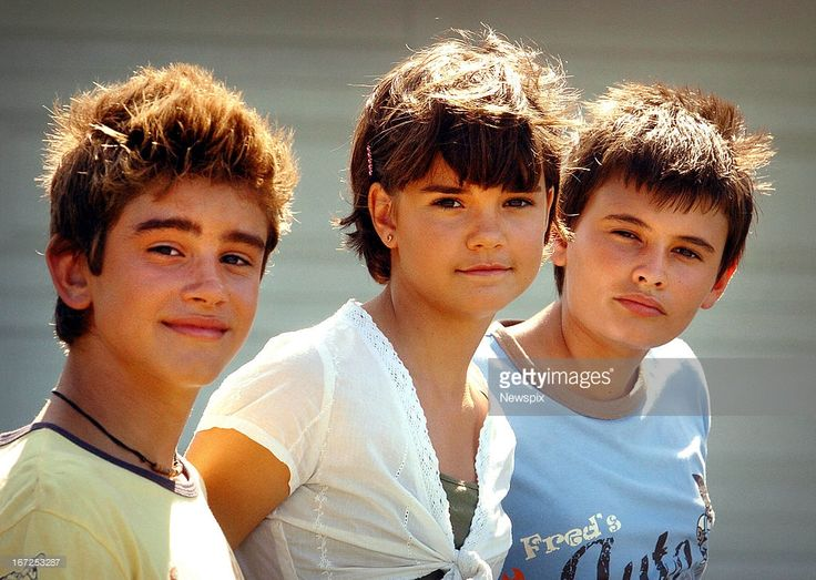 Luke Ercey, Maia Mitchell and Nicolas Dunn on the set of the children's television show 'Mortified' at Currumbin on January 24, 2006 on the Gold Coast, Queensland.