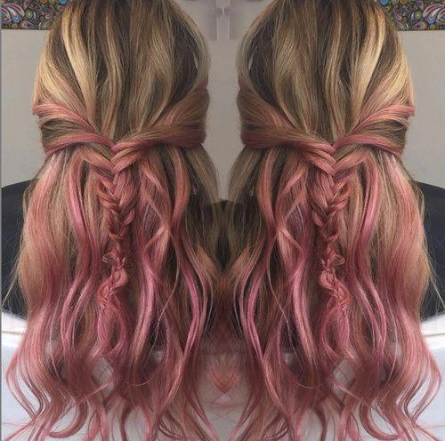 subtle pink ombre for brown blonde