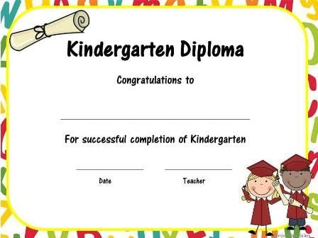 kindergarten diploma Kindergarten Graduation Pinterest