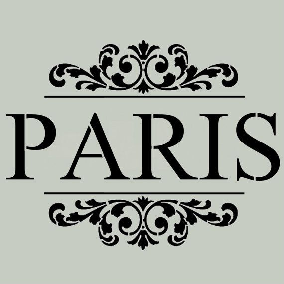 STENCIL Vintage PARIS with Scroll Brackets  by ArtisticStencils