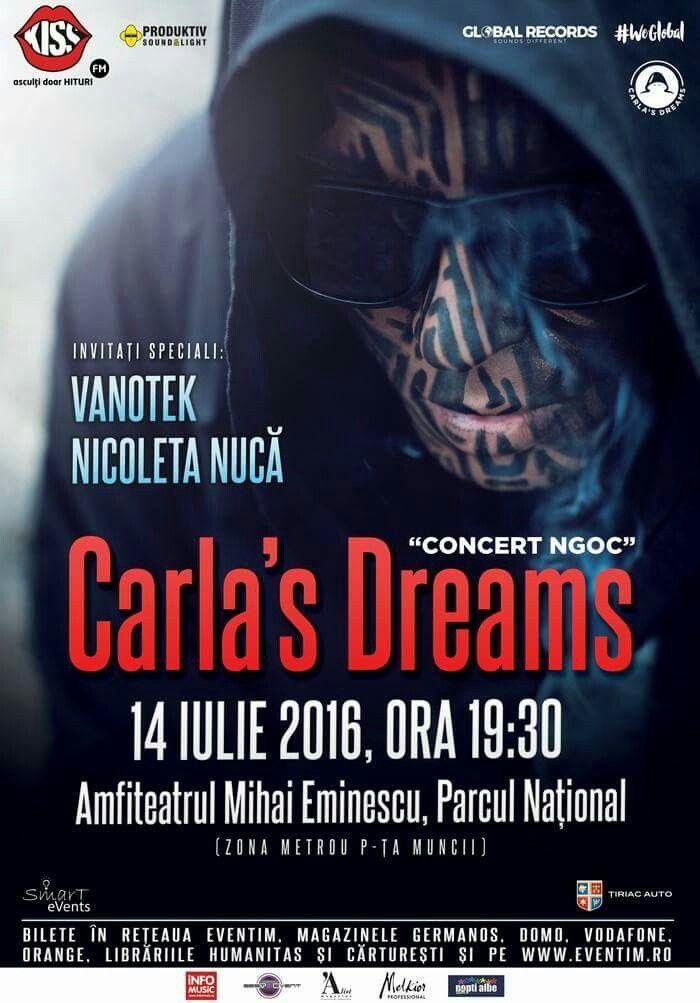 """PE 14 IULIE, ORA 19:30, FENOMENUL CARLA'S DREAMS CONTINUA! VARA ACEASTA CONCERT LA AMFITEATRUL """"MIHAI EMINESCU, PARCUL NATIONAL DIN BUCURESTI.  Eveniment organizat de: Cristian Furdi & SmarT eVents.  Detalii & Bilete >> http://www.eventim.ro/ro/bilete/cd-prod-bucuresti-teatrul-de-vara-mihai-eminescu-891575/performance.html"""