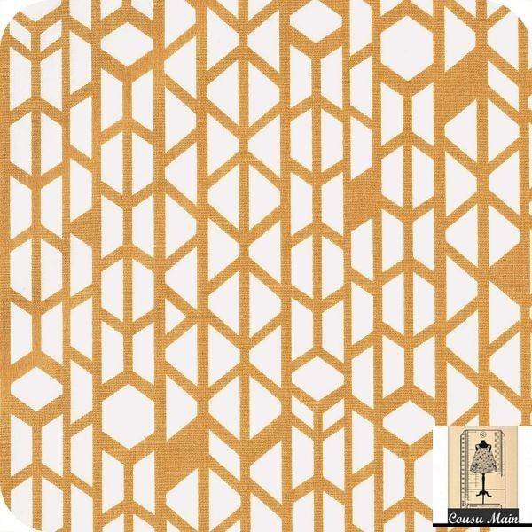 Tissu coton imprim graphique toile moutarde tissu - Tissu ameublement art deco ...