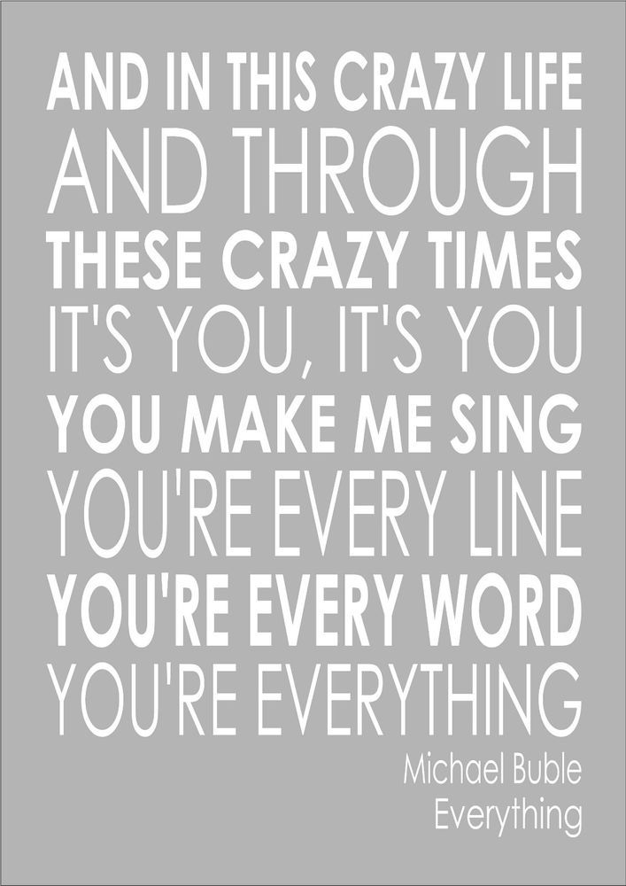 Everything - Michael Buble - Word Typography Words Song Lyric Lyrics First Dance