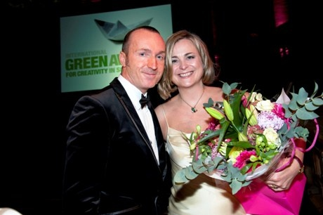International Green Awards CEO and Founder Iain Patton with host Philippa Forrester at the ceremony at the Natural History Musuem.