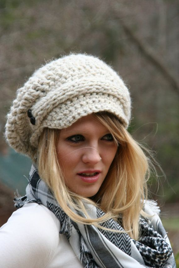 Newsboy Slouchy Hat / The Evreux / Hand by crochetgallery on Etsy,