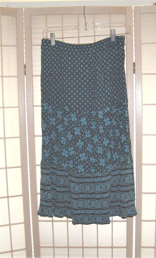Sag Harbor Sz PS Blue & Brown Quatrefoil Pattern A Line Skirt #SagHarbor #ALine
