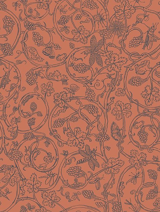 Insects Wallpaper A terracotta wallpaper with a dark aubergine print of small insects crawling amoungst a leaf trail.