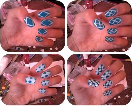 maroc-cutenails-art: Argyle Plaid Nail Art design bleu diy freehand
