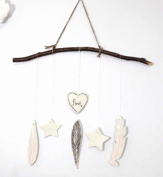 Love Hippie Wind Chime Porcelain Ceramic Large by MuddyHeart, $48.00