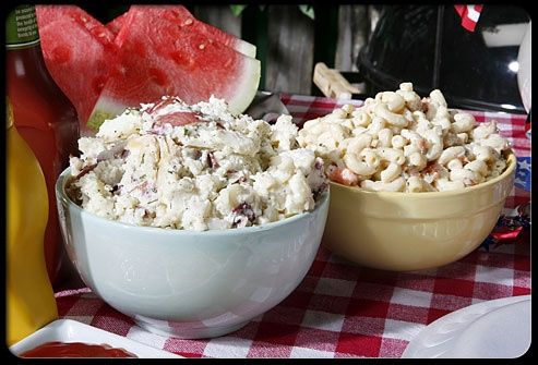 Mayonnaise-Based Salads    A small half-cup portion of typical potato salad has 180 calories and 12 grams of fat; the same amount of coleslaw has about 150 calories and 8 grams of fat. To cut calories, try making your salads with light mayonnaise; or mix mayo with low-fat yogurt, light sour cream, or chicken stock. Or why not try a German-style potato salad, using more vinegar than oil? Then toss lots of veggies into any salad to increase the fiber and nutrients.