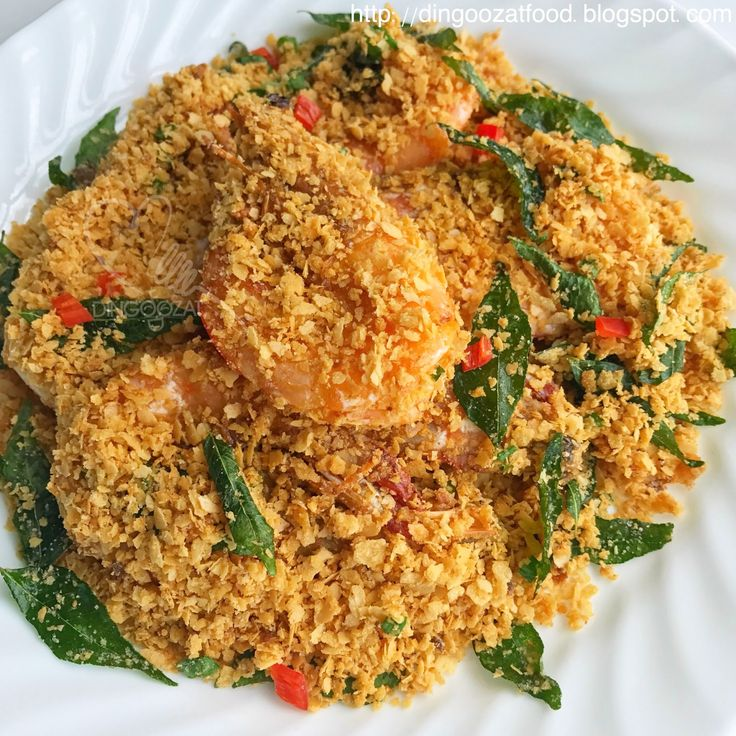 Famous ZiChar food - Easy Cereal Prawn recipe cooked without deep frying. Home cooking got to be easy. Just pan fried with very little oil until crisp. Fragrant, crispy and tastes heavenly.
