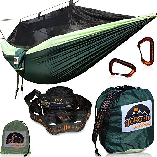 Great Camping Hammock : GoRoam Outdoors Camping Hammock with Mosquito Net  XL 10ft Loop Tree Straps Plus Carabiners Premium Quality Lightweight  Durable 210T Nylon  Perfect for Bug Free Hiking Backpacking  TravelGoRoam Outdoors Camping Hammock with Mosquito Net  XL 10ft Loop Tree Straps Plus Carabiners Premium Quality Lightweight  Durable 210T Nylon  Perfect for Bug Free Hiking Backpacking  Travel * Find out more about the great product at the image link. Note:It is Affiliate Link to Amazon.