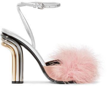 Marco De Vincenzo - Feather-embellished Satin And Metallic Leather Sandals - Silver