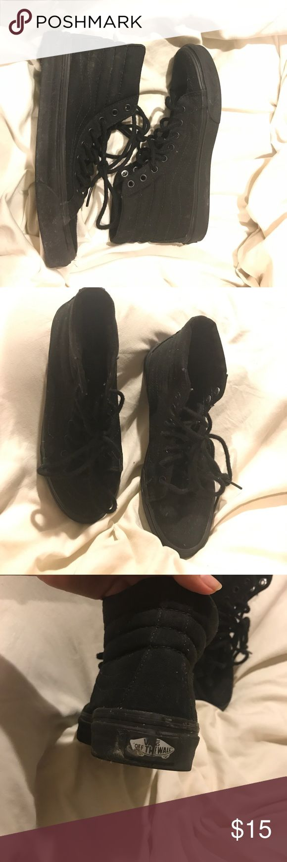All Black High Tops Off The Wall Vans Worn a few times but they were too small for me! I am a size 8 and these are a 7.5. Great shoes though!! Vans Shoes Sneakers