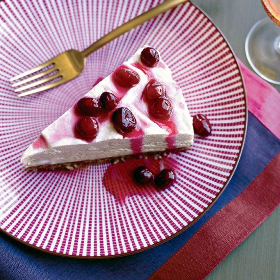 Frozen Maple Mousse Pie with Candied Cranberries // More Amazing Pies & Tarts: www.foodandwine.com/slideshows/thanksgiving-pies-and-tarts #foodandwine