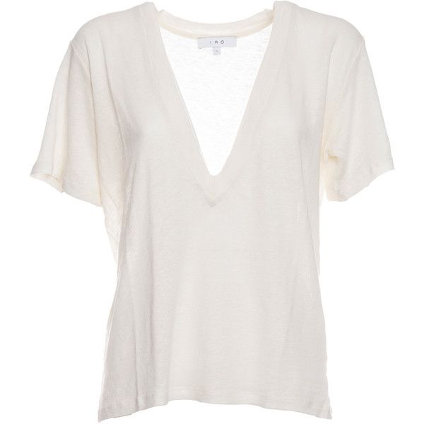 Long v Neck T Shirt (£74) ❤ liked on Polyvore featuring tops, t-shirts, shirts, t shirt, white, v neck tee, long length t shirts, white t shirt, long shirt and short sleeve t shirt