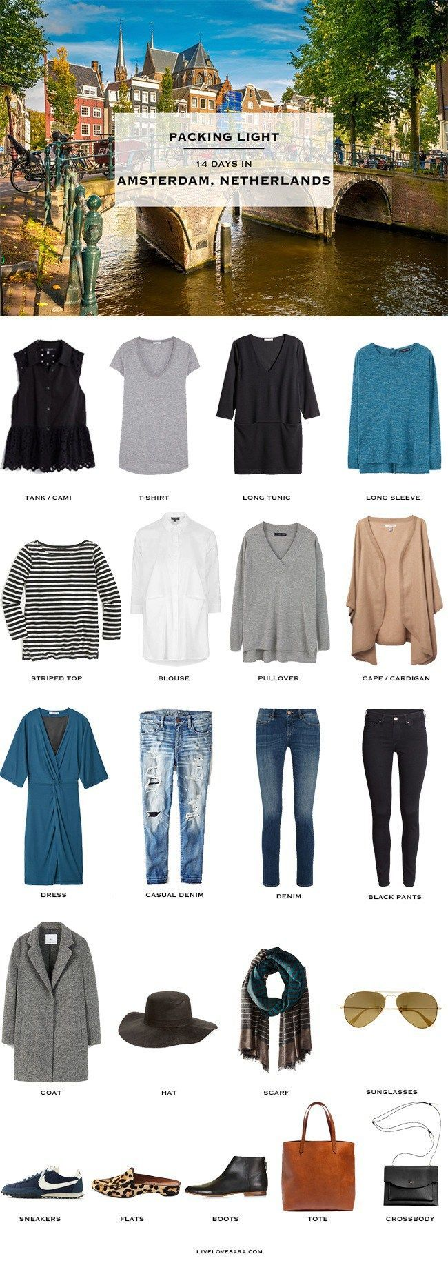 What to pack for Amsterdam Netherlands Packing Light List Fall #travellight…
