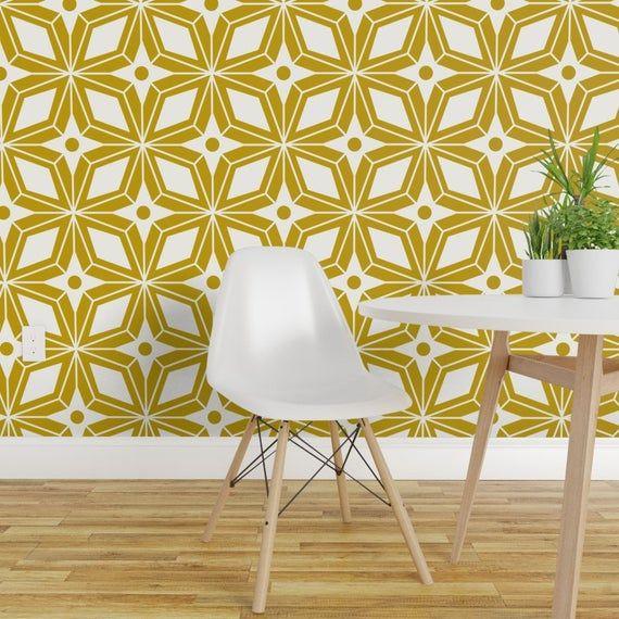 Midcentury Modern Wallpaper Starburst Midcentury By Etsy In 2020 Modern Wallpaper Midcentury Modern Decor