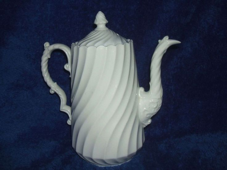 Aynsley Bone China Fluted Teapot Coffee Pot White Swirl dated 1934-1939 British #vintage #teapot #bonechina #ebaysales