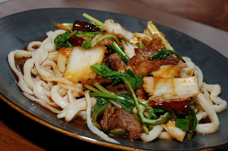 Ban mian from Bogda (Uyghur) Restaurant in Waterloo. Features hand-pulled lamian noodles (wheat). Delicious.