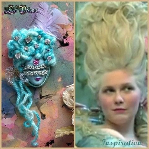 How to use? Marie Antoinette pendant realized with my Carnival face cabochon. Necklace project by La Polena