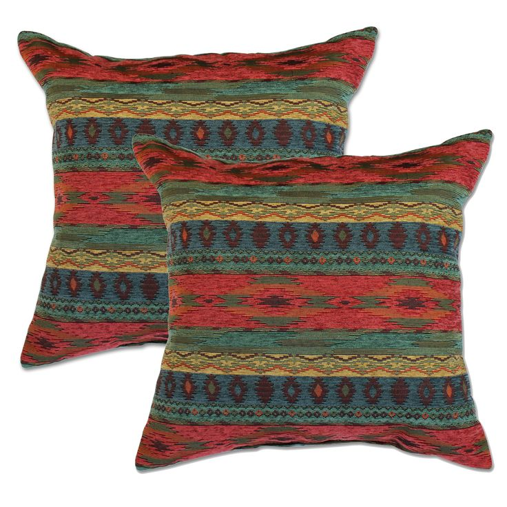 This pillow set features a stylish rustic southwestern stripe pattern. The pillows feature knife edging with a comfortable polyester cover and soft polyfil cushioning.