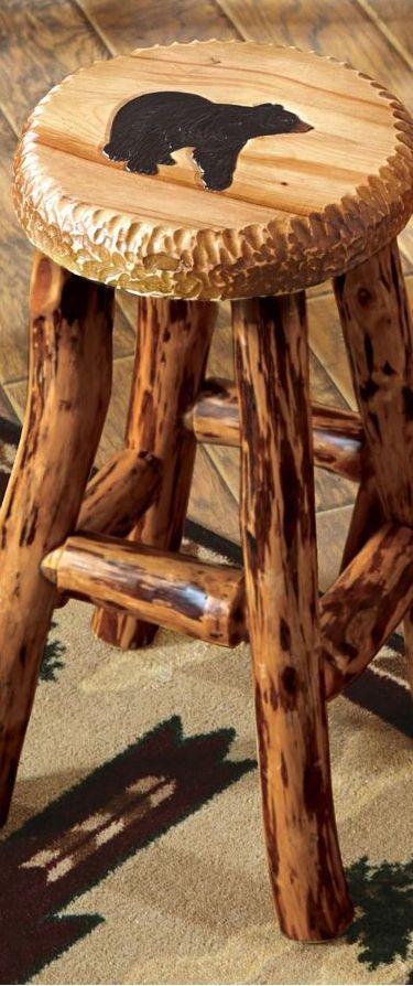 Carved Bear Stool