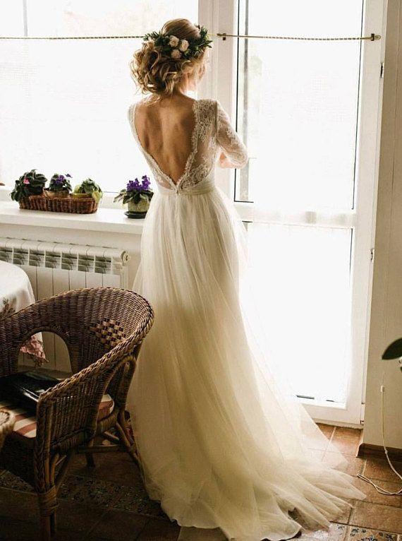 Lace wedding dress /Ivory dress /Tulle wedding gown,champagne wedding dress ,2017,Open back dress ,n