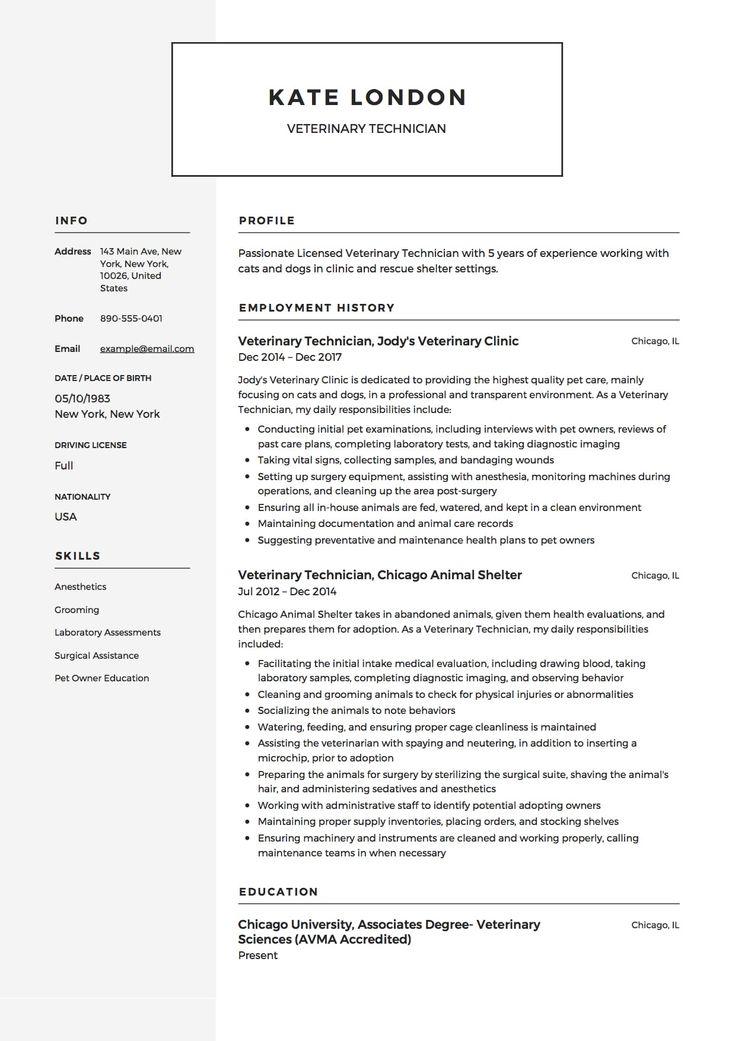 Resume templates veterinary assistant in 2020 vet tech